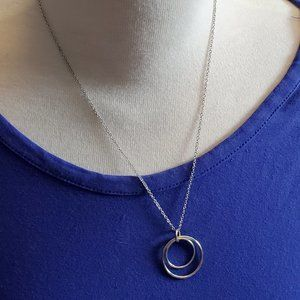 "18"" Silver Tone Layer Circle Pendant Necklace NWT"
